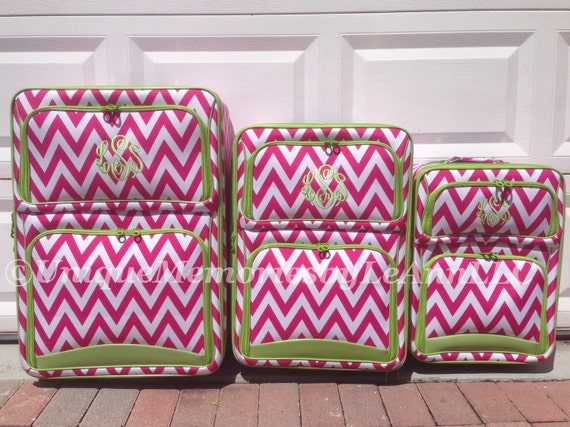 Monogrammed Chevron 3 Pc Rolling Luggage Set with FREE