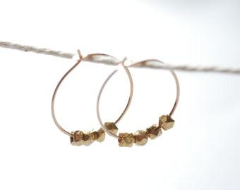 Gold Nugget Hoop Earrings, 14k gold filled hoop earrings, Minimalist earrings