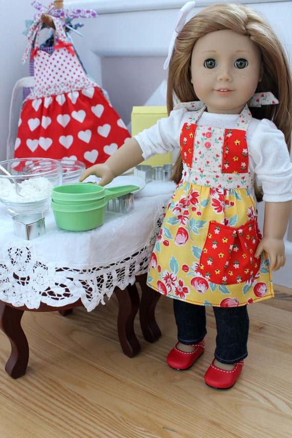 "Cherry and Yellow ""Vintage Pretties"" Apron for American Girl or 18"" Doll"
