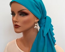 Jessica Pre-Tied Head Scarf -Turquoise - A Cancer, Chemo, Alopecia Hat, Head Cover, Wrap, for women experiencing hair loss.