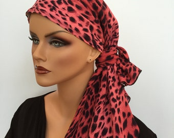 Jessica Pre-Tied Head Scarf, Women's Cancer Headwear, Chemo Scarf, Alopecia Hat, Head Wrap, Head Cover for Hair Loss - Pink Cheetah