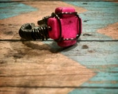 Pink Turquoise Cross Wire Wrapped Adjustable Ring, FREE SHIPPING!!