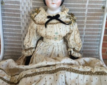 "Antique Brown Eyed China Head Doll Porcelain Shoulderhead - 24"""