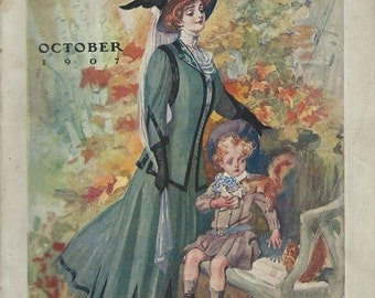 1907 Delineator magazine cover ads ladies fashion  corsets colgate talc powder  ivory soap