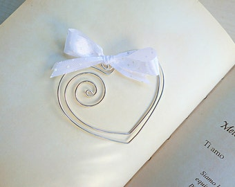 Set of 5 Heart Bookmarks, silver wire paper clip, fully handmade, with ribbon, DIY favors, gift idea, birthday gift