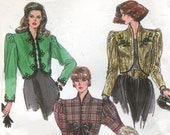 1980s Simplicity 8954 Bolero Jacket Vintage Sewing Pattern  Puff Sleeves Lined Size 10 Bust 32.5 UNCUT