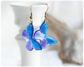 Transparent Earrings Violet  Butterflies