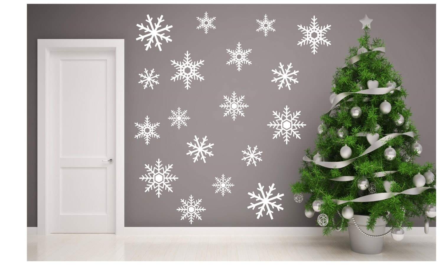 snowflakes wall decals christmas wall decal winter by ammdecals. Black Bedroom Furniture Sets. Home Design Ideas