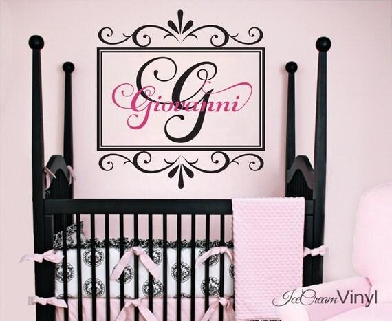 Girl Name Wall Decal for Nursery Girl Vinyl Wall Decor Elegant Lettering Monogram
