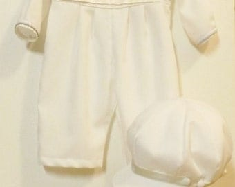 Boy's Heirloom Christening Baptism Wedding Romper and Hat Set  Off White and Ivory