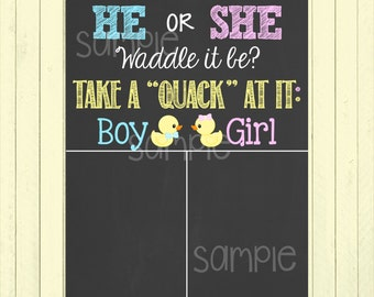 He or She Waddle It Be // Pregnancy Gender Reveal Chalkboard Poster Printable Pregnancy Reveal // Pink or Blue // Cast Your Vote Sign