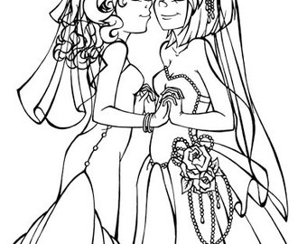 lesbian wedding coloring pages | sexy coloring page – Etsy