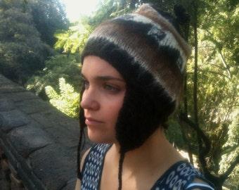 Alpaca Ear Flap Hat - Fair Trade Andean Hat handknit in black Chilean Alpaca Wool - Free Shipping on orders over 65 dollars!