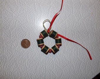 Vintage Christmas Ornament Made from Spools of Thread on Wooden Spools