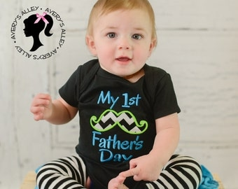 Boys My 1st Father's Day - Boys Applique First Father's Day Chevron Mustache Shirt or Bodysuit with Add on Leg Warmers