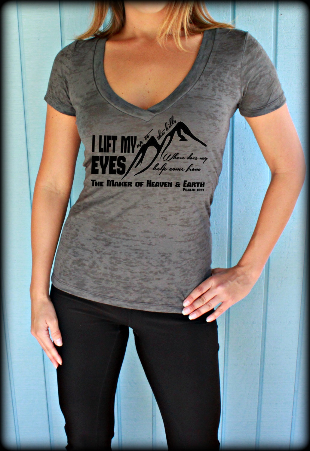 Womens workout v neck tee i lift my eyes up to the hills for Workout shirt for women