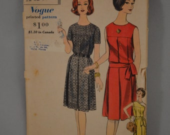 Vintage 1960 Vogue One Piece Dress Sewing Patterns #5265 (Size: 12)