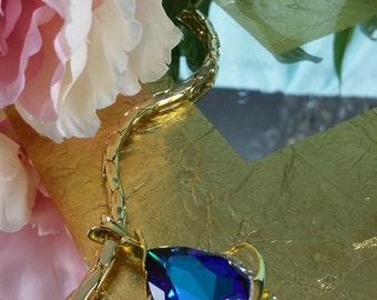 Christmas gift Heliotrope Teardrop Swarovski Pendant