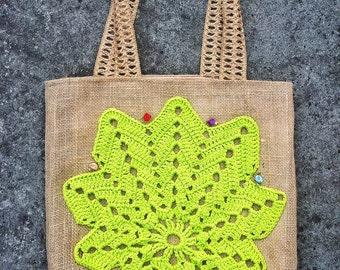 Crochet tote Summer bag Unique handmade natural burlap with green leaf crochet applique eco-friendly