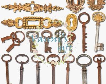 20 Vintage Gold Lock Key Wedding Digital Download Scrapbooking Clip Art c09