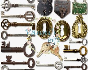 22 Vintage Lock Key Wedding Digital Download Scrapbooking Clip Art b58