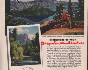 Magazine ad for Oregon Vacation Adventure, 1946 - Tvl 95