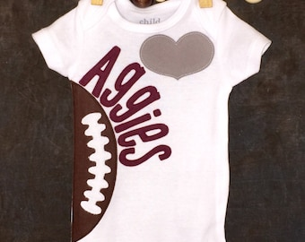 Personalized Heart OR Bow Tie Texas A & M Aggies Team Football Bodysuit