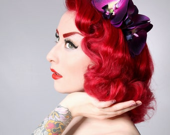 Rock Rockabilly Purple Double Orchid hair flower comb fascinator