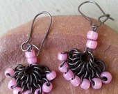 Small Soft Pale Pink & Black Gunmetal Micro Chainmaille Earrings Fan Beaded Glass Drops Chain Mail Bridesmaids Bridal Renaissance Jewelry