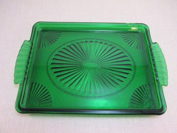 Vintage Green Glass Tray Emerald Accent From Avon Serving