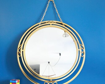 LAMP mirror with gilded frame and back lighting, vintage Mid Century 60's.