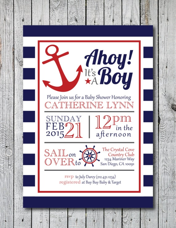 Printable Ahoy It's A Boy Baby Shower