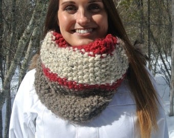 Red, Beige & Barley Striped Chunky Cowl