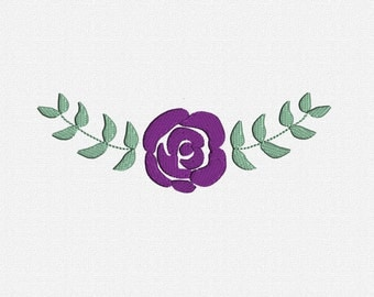Filled Rose and Leaves Machine Embroidery Design Pattern Download 7 Sizes Modern Border Embroidery Machine Flower Leaf