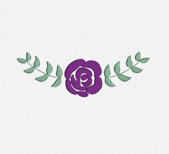 Filled rose and leaves machine embroidery design pattern