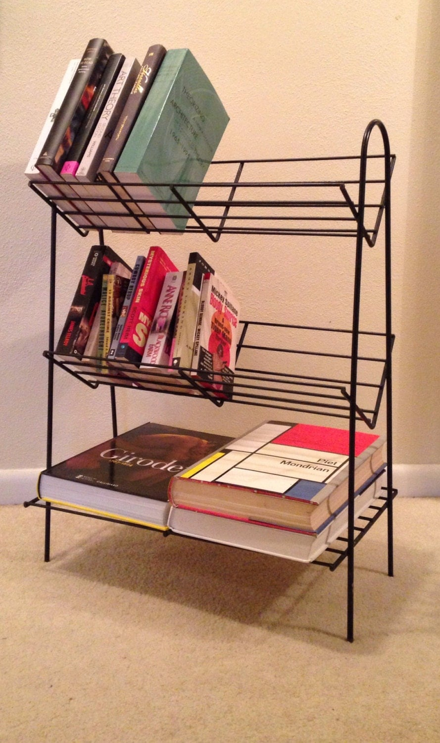 Retro Wire Bookshelf Plant Stand Angled Shelf Mid Century