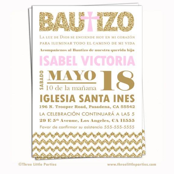 Spanish Baptism Invitation Invitacion de by ThreeLittleParties