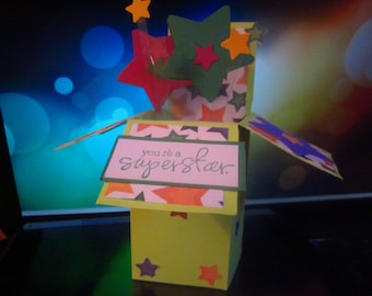 Birthday Pop-up Card-in-a-Box with Stars or Candles