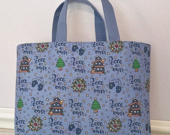 Christmas Tote Bag, Peace on Earth Tote, Cotton Tote Bag, Kids Tote, bird house, wreath, mittens, SMALL