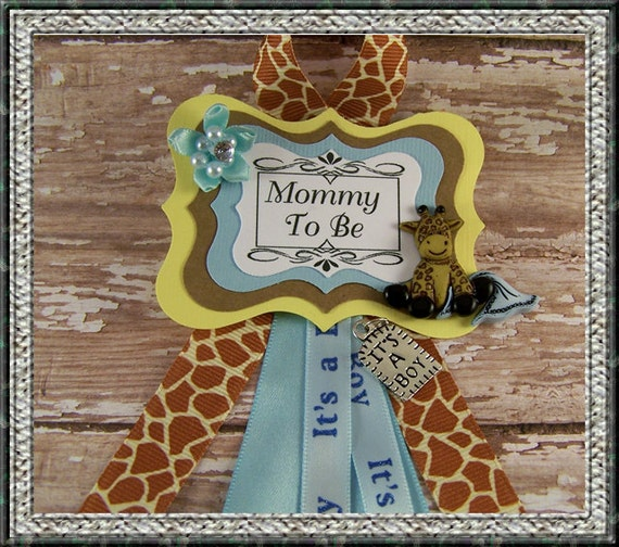 Safari Baby Shower Corsage: Giraffe Mommy To Be Corsage Safari Mommy To Be By