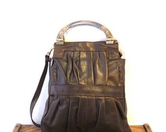 Vintage Chocolate Brown Italian Leather Gold Handle Satchel Hobo Bag Shoulder Purse