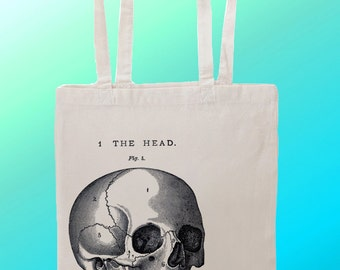 Anatomical Skull Illustration Head - Reuseable Shopping Cotton Canvas Tote Bag