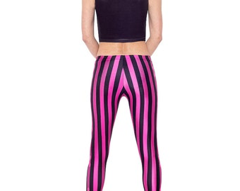 Striped Leggings, Pink Leggings, Purple Leggings, Steampunk Clothing, Glam Rock Clothing, Cybergoth Clothing, Cyberpunk Clothing
