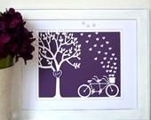Tandem Bicycle Art with Customizable Colors - Wedding Gift - Anniversary Gift - Bicycle Wedding - Tandem Bike - Tree Wedding - 3D Art