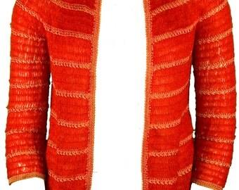 1960s Large Sweater Cardigan Red Crochet Knit Cherry Rockabilly Retro Pin Up Mod Shrug Sock Hop Grease Sandra Dee Winter Kitsch Housewife