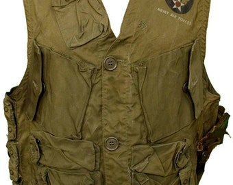 1940s Large Vest Army Air Force WWII WW2 Emergency Sustenance USAAF C1 Olive Green Military World War 2 Camo Uniform Historical Retro Pin Up