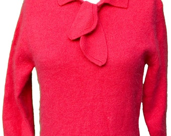 1950s Medium Sweater Angora Hot Pink Fuchsia Coral Knit Pin Up Retro Cute Doll Preppy Grease Lady Mod Madmen Polo Kitsch Nautical Cropped