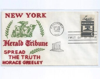 VELVATONE  Freedom of the Press Postal Stationery First Day Cachet Columbia, MO 1958