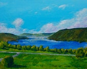 "Canandaigua Lake (ORIGINAL ACRYLIC PAINTING) 24"" x 11 1/2"" by Mike Kraus"