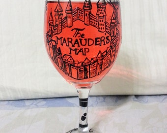 Marauder's Map Harry Potter Wine Glass
